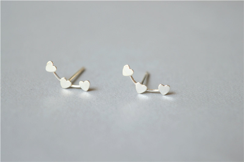 Heart Stud Earrings Sterling Silver Shaped Earring Sets Tiny Mini Simple Pair Gift For Friend D3