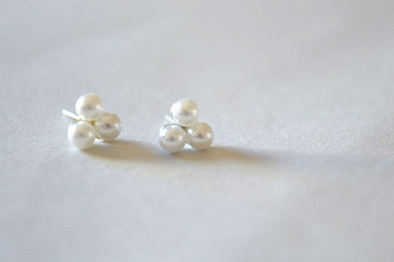 Tiny Pearl Stud Earrings Silver With Three Small White Pearls D130