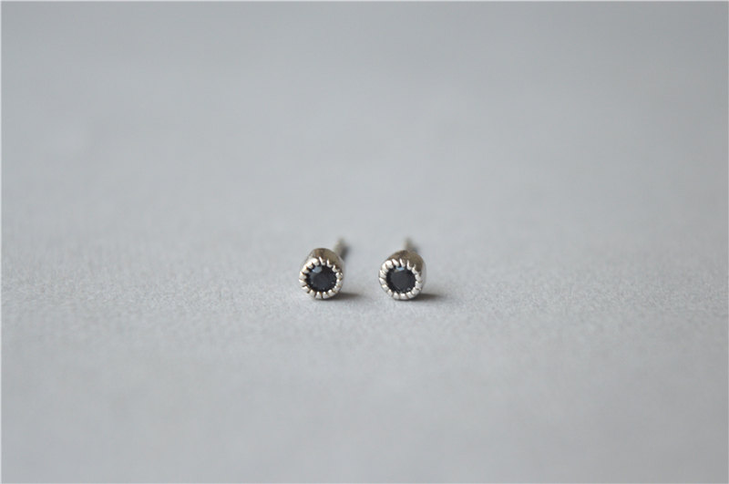 Mini Black Gemstone Round Stud Earrings Small Agate Sterling Silver Post Daily Wear Pair D284
