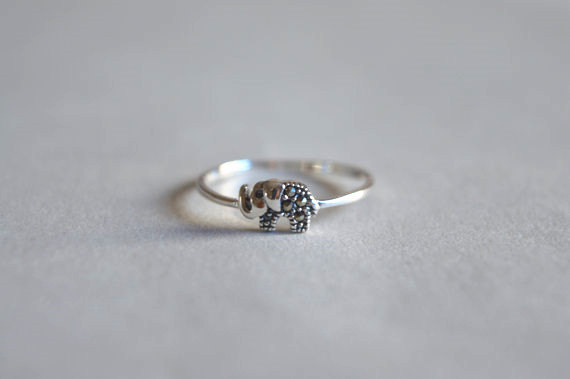 Sterling Sterling Tiny Elephant Band Ring